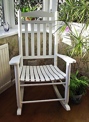 New Traditional Maternity White Farmhouse Rocking Chair - Baby Nursing & Feeding