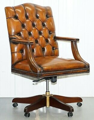Lovely Restored Chesterfield Directors Captains Hand Dyed Brown Leather Chair