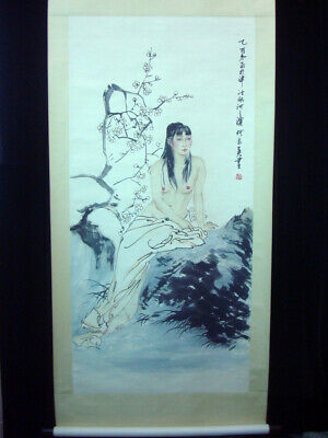 "Old Large Chinese Scroll Hand Painting Beautiful Nude Girl ""HeJiaYing"" Marks"