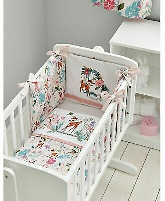 Disney Baby Girl Pink Bambi Bumper 100% Cotton Cot & Cot Bed Bedding Cotbed New