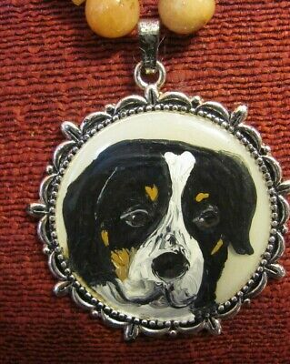 Greater Swiss Mountain Dog hand-painted on round metal pendant/neckalce