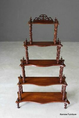 Antique Style Mahogany Serpentine Whatnot Shelves