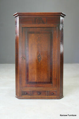 Antique 19th Century Oak & Mahogany Wall Corner Cupboard Bathroom Kitchen Dining