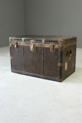 Large Everwear Antique Brown Leather Square Travel Trunk Cabin Luggage Storage
