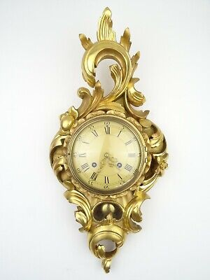 Swedish Westerstrand Vintage Gustavian Antique Gilt Wall Clock 8 day (Mora era)