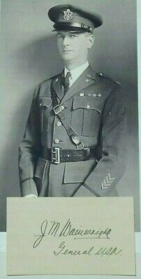 General Jonathan Wainwright World War II Medal Honor Recipient Autograph Card ..