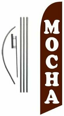 Mocha 15ft Feather Banner Swooper Flag Kit INCLUDES 15FT POLE KIT w//GROUND SPIKE