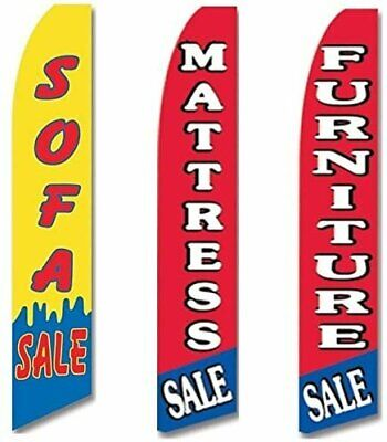 Matress Sale Monthly Special Open King Swooper Feather Flag Sign Kit with Pole and Ground Spike Pack of 3
