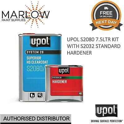 U-Pol S2080 Clearcoat Lacquer Hs 2K 7.5Ltr Kit-With S2032 Standard Hardener Upol