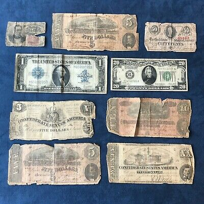 Old US Currency Lot - Confederate, Fractional, Silver Cert, Gold on Demand FRN