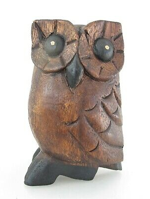 """Hand Carved Wooden Owl Figurine Bird Statue Sculpture Rustic Wood Carving 5"""""""