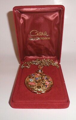 CIARA by Charles Revson Solid Perfume Locket Necklace Enamel Flower Plus Box