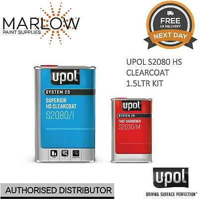 U-Pol S2080 Clear Coat Lacquer Hs 2K 1.5Ltr Kit  - With S2030 Fast Hardener Upol