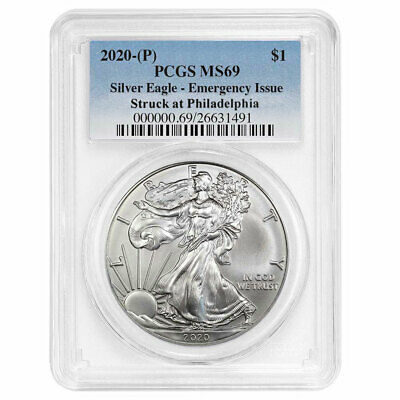 2020 (P) $1 American Silver Eagle PCGS MS69 Emergency Production Blue Label