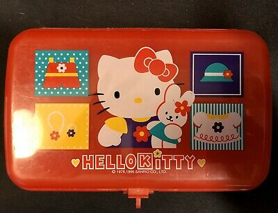 VINTAGE 1996 Sanrio Hello Kitty Plastic Pencil Case Container Organizer Japan