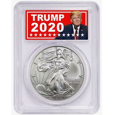 2020 (P) $1 American Silver Eagle PCGS MS70 Emergency Production Trump 2020 Labe