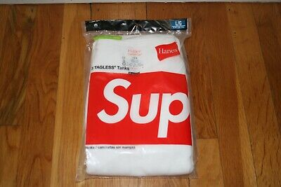 Supreme X Hanes Tagless Tank Top 3 Pack White Size Large Brand New