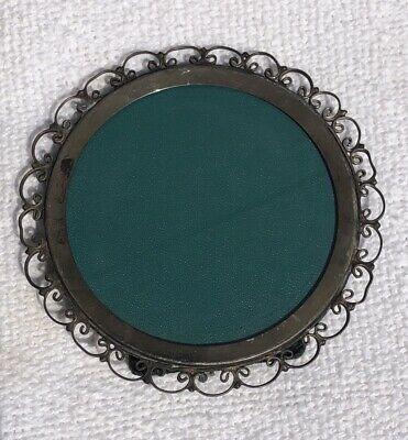 Vintage Antique Marked Sterling Silver Round Decorative Picture Frame
