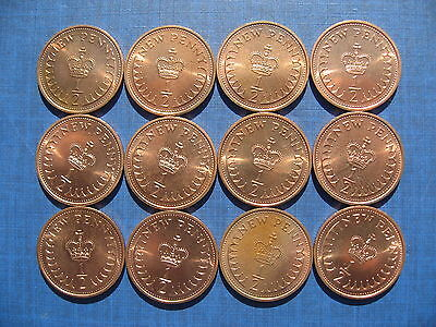 Twelve Elizabeth II Halfpennies 1971. High Grades.