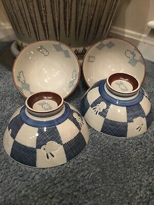 "(Set Of 4) 5 X 2.5"" Porcelain Rice Bowls Fabric Bunnies Rabbits Pattern 2""Footed"