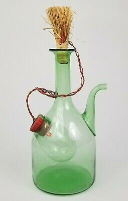 Vintage Blown Green Glass Wine Chiller Decanter Bottle Stopper Ice Pocket Italy