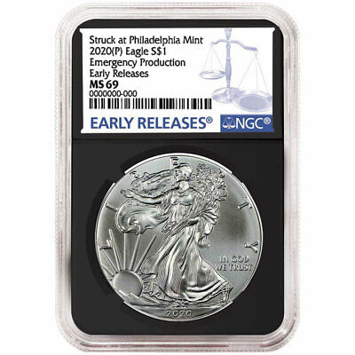 2020 (P) $1 American Silver Eagle NGC MS69  Emergency Production Blue ER Label R
