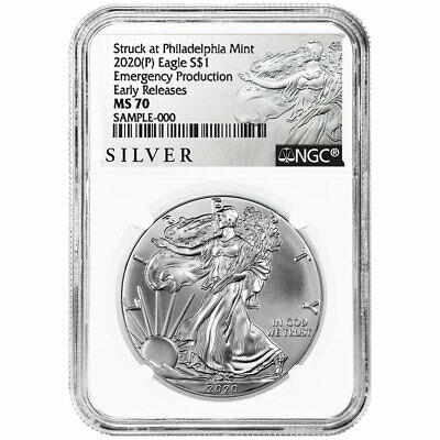2020 (P) $1 American Silver Eagle NGC MS70 Emergency Production ALS ER Label