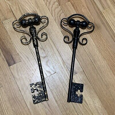 """2 BRASS SKELETON KEYS DECORATIVE 16"""" Speckle Rust Design With Nail Hole"""