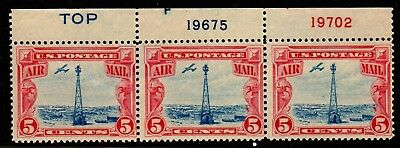 US Airmail Stamps: C11 strip of 3 w/ plate #'s & TOP Mint H (cv$21.00)Free Ship