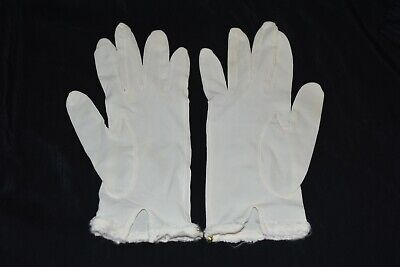 White  pair vintage WOMENS size Small wrist GLOVES beaded edge Japan CHIC EUC