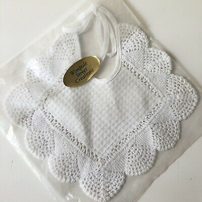 New Vtg Handmade Baby Bib White Crochet Edge Crocheted Wimpole Street Creations