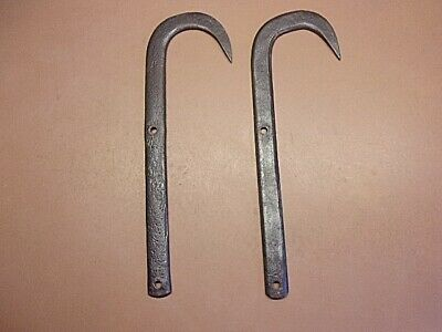 "Antique Hand Forged Iron Ladder Hooks Matched Pair 15"" Long Awesome Forging!"