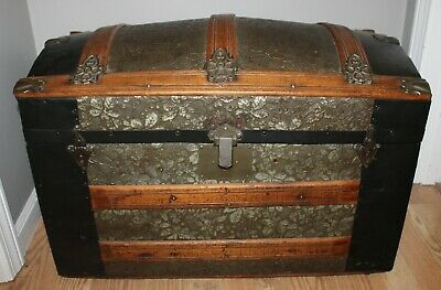 Antique Victorian Ornate Embossed Metal Miniature Children's Camelback Trunk!