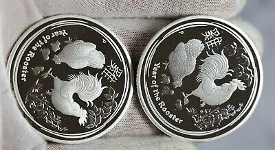 2 2017 Australia PROOF Lunar Year of the Rooster 1oz SIlver $1 Coin