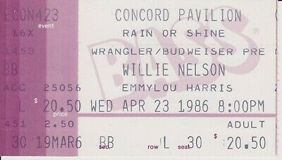 Willie Nelson & Emmylou Harris Concert Ticket Stub April 23 1986 Country Music