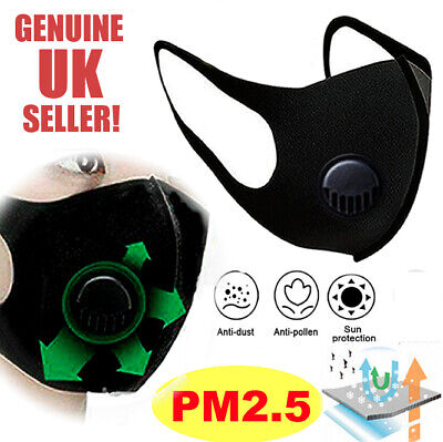 CYCLING PM2.5 ANTI POLLUTION FACE MASK ACTIVATED CARBON FILTER | UK Seller!