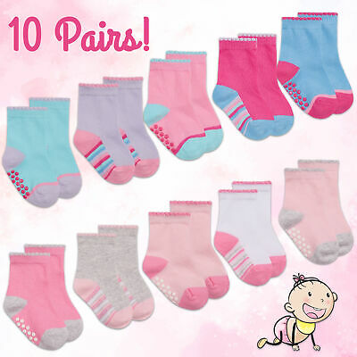 Baby Toddler Girls Socks ABS Anti Non Slip Ankle Cotton Rich Colourful 10 Pairs