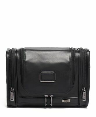 Authentic Tumi Hanging Leather Travel Kit Bag Black Alpha 3 New w/tags