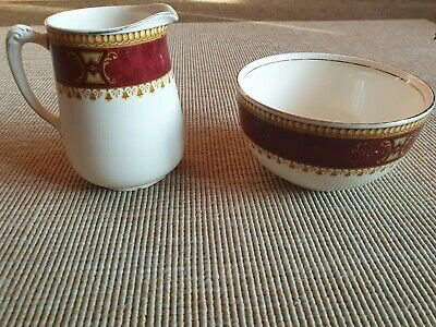COLLECTABLE Morley Ware Fine Bone China Gold Plated Milk Jug and Sugar Bowl