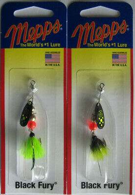 Fluorescent Red Dot Blade with Gray /& Orange Tail 1//6 oz Black Fury In-Line Spinner Dressed Treble Hook