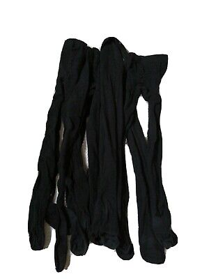 6 Pairs Of Black Tights Age 9 - 10 Various Makes