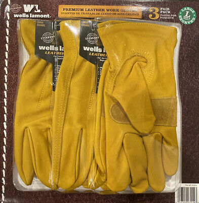 Wells Lamont Premium Cowhide Leather Work Gloves 3 Pair Pack - Size Large NEW