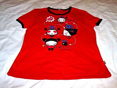 "Pucca Funny Love ""Garu is mine!!"" Red Ringer Shirt Youth Girls Large NWOT New"