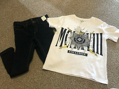 Boys River Island Skinny Jeans and T-shirt age 7 To 8 New With Tags!