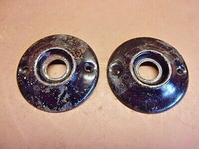 "2 Vintage Antique Round Door Knob Rosettes/Escutcheons Pressed Steel 1 7/8"" Diam"