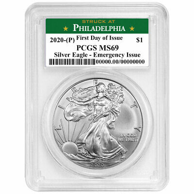 2020 (P) $1 American Silver Eagle PCGS MS69 Emergency Production FDOI Philadelph