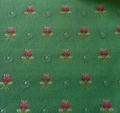 Vintage French Provincial Floral Brocade Jacquard Fabric #1~ Rich Green Rose
