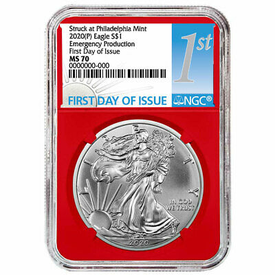 2020 (P) $1 American Silver Eagle NGC MS70 Emergency Production FDI First Label