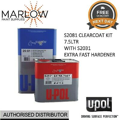 U-Pol S2081 Clear Coat Lacquer Hs 2K 7.5Ltr Kit - With S2031 Extra Fast Hardener