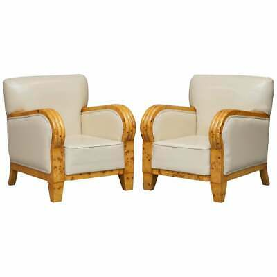 Pair Of Stunning Burr Maple Art Deco Club Armchairs Cream Leather Upholstery